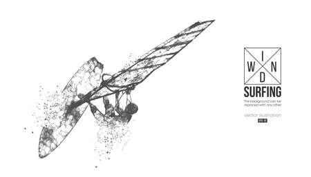 Windsurfing. Wireframe silhouette of a windsurfer.