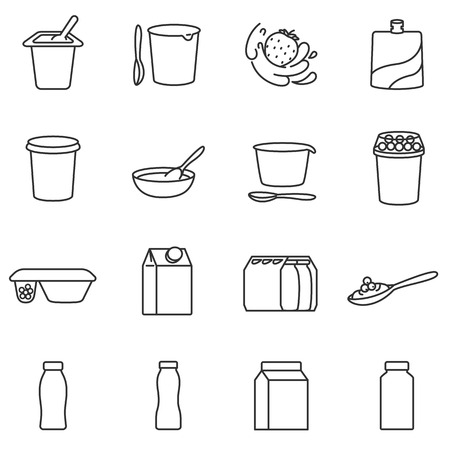 Yogurt. Different types of packages. Assortment of yogurts. Lines with editable stroke. Icons set