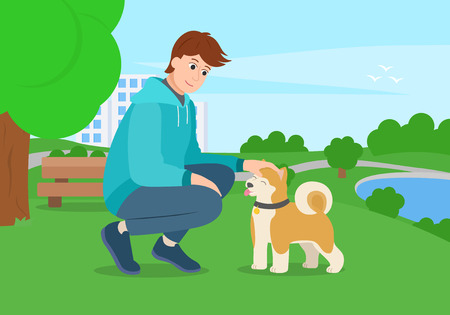 Man with a dog for a walk in the park. Guy stroking akita puppy. Vector illustation Çizim