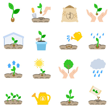 Sprout, icons set. Growth plant Illustration