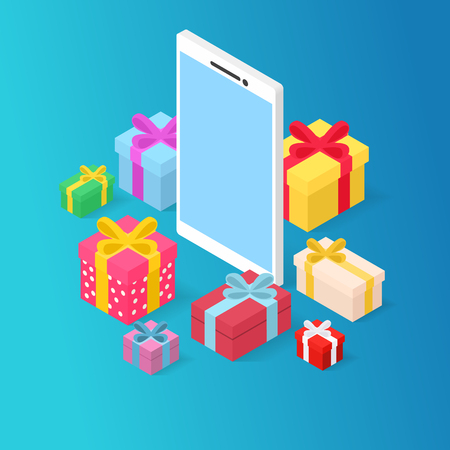 Gifts for smart phone, 3D isometric illustration