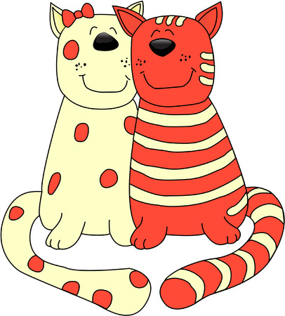 valentine cat: 2 cats. element for design vector illustration