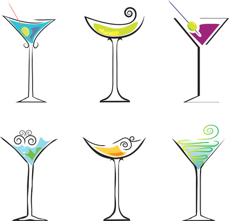 6 Cocktails against white background. Element for design vector illustration