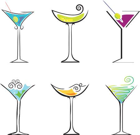 6 Cocktails against white background. Element for design vector illustration Vector