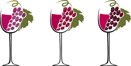 Glasses with wine on a white background Vector