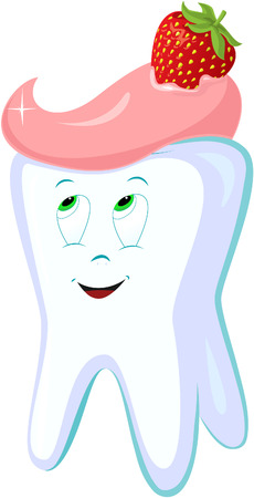 cleaning teeth: Happy smiling tooth. Vector illustration. Illustration