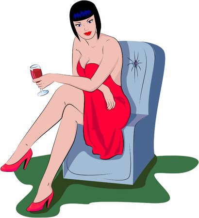 The woman with a wine glass.  Vector