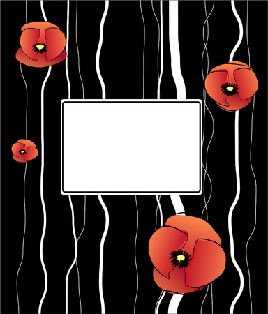 vector background with poppy flowers. Vector