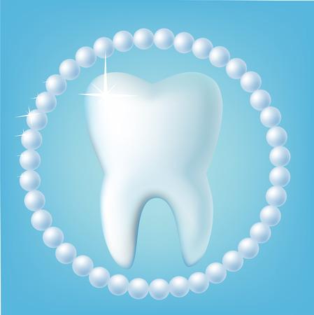 diente caricatura: Diente en un fondo azul