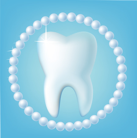 teeth whitening: Tooth on a  blue background