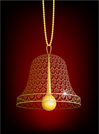 hand bell: Hand bell decorated with an ornament Illustration
