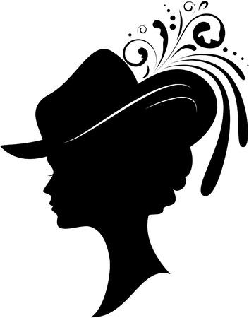 chapeau blanc: Silhouette de la jeune femme dans un chapeau sur un fond blanc