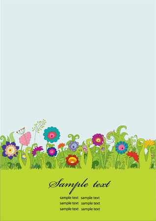 uncultivated: Background with flowers. Element for design vector illustration.  Illustration
