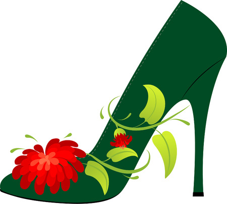 Female shoe on the high heel, decorated with a flower Stock Vector - 6270267