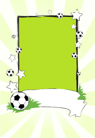 Vector football banner with the ball and stars on a green background Vector