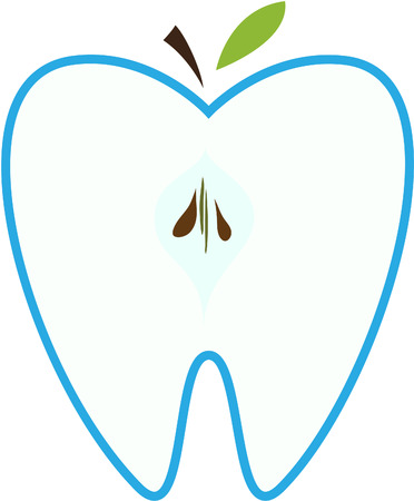 cleanliness: Symbol of a tooth in the form of an apple.