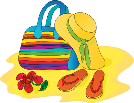bonnet: Hat, bag, sandals Illustration