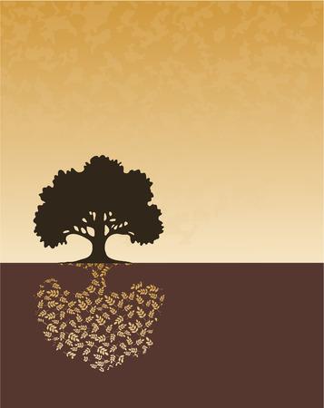 single color image: Tree silhouette on horizon. Illustration