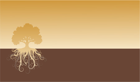 Silhouette of a tree with abstract roots. Stock Vector - 6553167