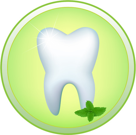 Round icon with the image of a human tooth and a mint branch Vector