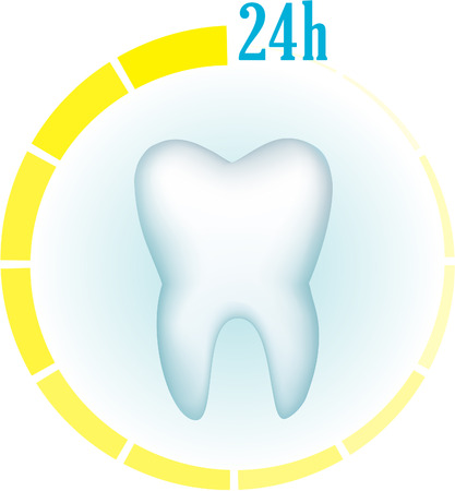 yellow teeth: Tooth on a blue background and a symbol of hours around