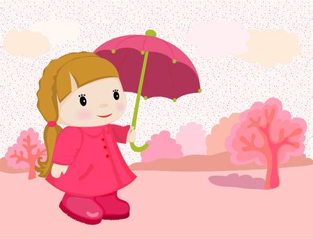 The girl going under an umbrella Vector