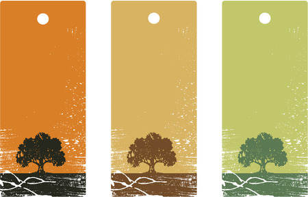 grunge tree:  illustration. Set of product price tags. Illustration