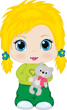 Het kleine meisje met een stuk speel goed beer in handen