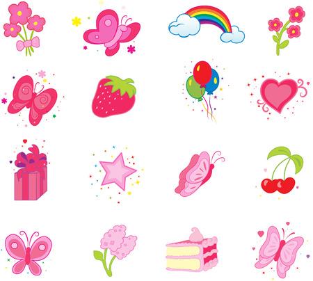 pink balloons: Set of celebratory icons.