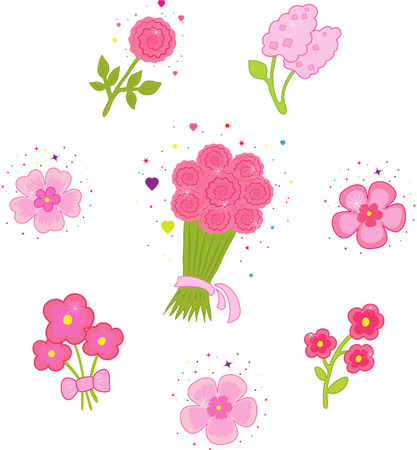 Set of icons with flowers Stock Vector - 7460704