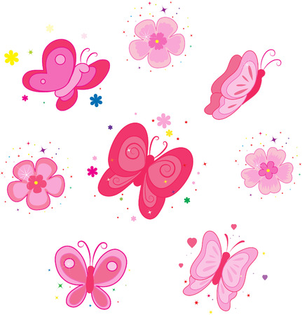 butterfly flower: Set of icons with flowers and butterflies.