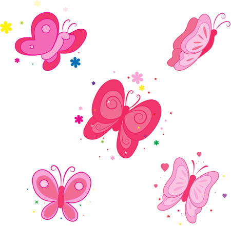Set of icons with  butterflies. Stock Vector - 7233325