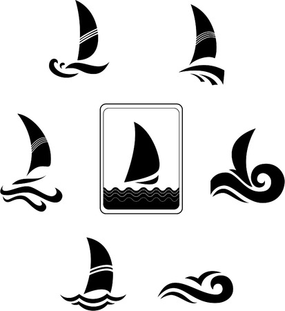 deportes nauticos: Iconos de negros con la imagen de Yates sobre un fondo blanco  Vectores