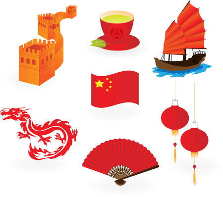 Chinese  icons.  Vector