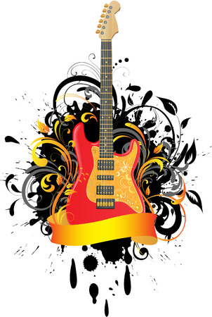 modern rock: Acoustic guitar on floral background