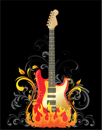Acoustic guitar on floral background Vector