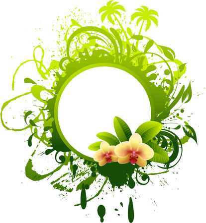 orchid tree:  Banner with orchid. Illustration