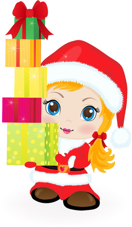 red head woman: The little girl in clothes of Santa Claus with gifts in hands.