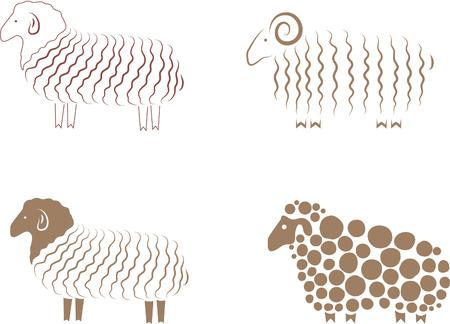 pecora: Pecore. Elemento di design illustrazione vettoriale. Vettoriali