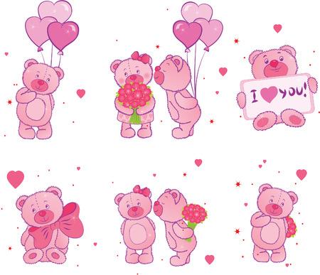 osos de peluche: Conjunto de osos de peluche con corazones Vectores
