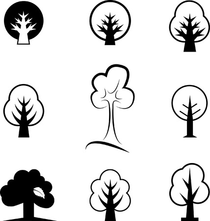 deciduous: Icons of trees