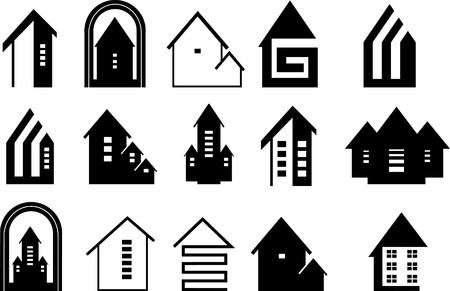 architecture logo: Icons of houses on a white background Illustration