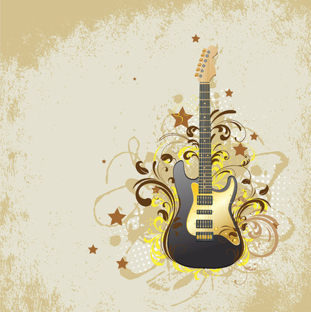 Beige background with a guitar. Vector