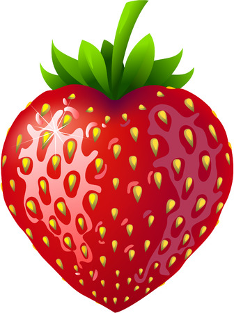 Strawberry in a shape of a heart.
