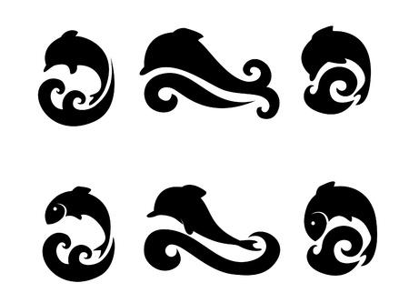 sealife: Reihe von Icons mit Delfinen und Fisch