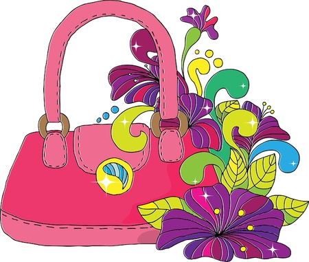 woman s bag: The female bag decorated with bright  flowers. Illustration
