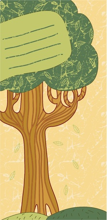 Vector hand drawn cards with a tree. Stock Vector - 9421939