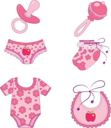 Childrens clothes and accessories. Element for design vector illustration. Illustration