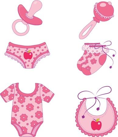 Enfants des vêtements et accessoires. Elément pour la conception illustration vectorielle.