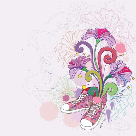 youths: Abstract background with sneakers  and flowers. Illustration